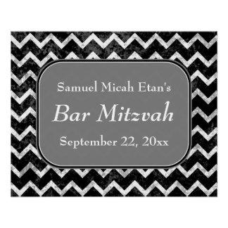 Barra blanco y negro Mitzvah de Chevron del modelo Perfect Poster