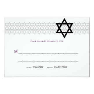 """Barra brillante Mitzvah RSVP de la estrella en Invitación 3.5"""" X 5"""""""