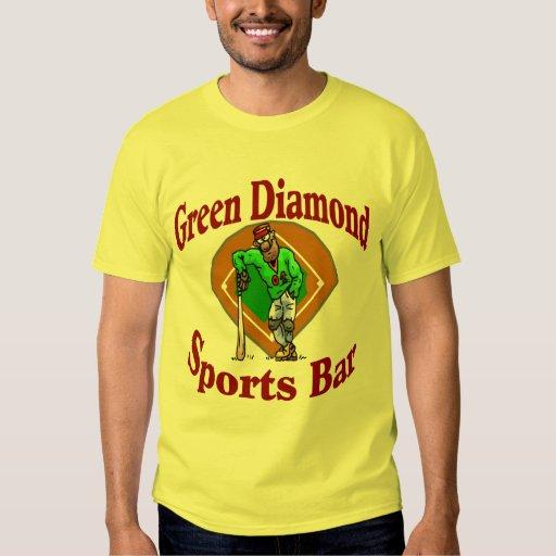 Barra de deportes verde del diamante playera