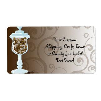 Barra de la comida fría del caramelo de chocolate, etiquetas de envío