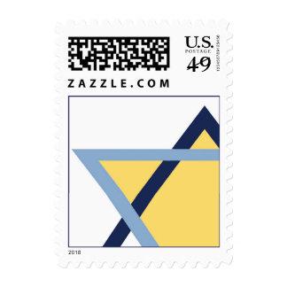 Barra de la estrella judía/palo azules y amarillos sellos