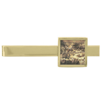 barra de lazo alfiler de corbata dorado