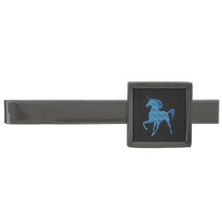 Barra de lazo azul del unicornio del fuego alfiler de corbata plomizo