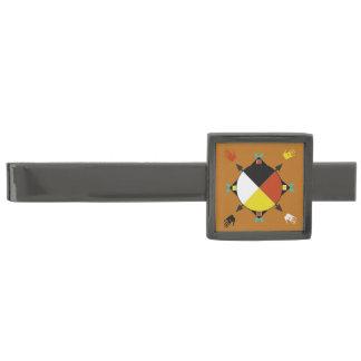 Barra de lazo cherokee de cuatro direcciones alfiler de corbata plomizo