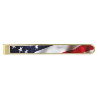 Barra de lazo de la bandera americana alfiler de corbata dorado