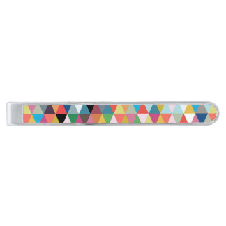 Barra de lazo geométrica colorida del modelo alfiler de corbata plateado