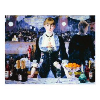 Barra de Manet en la postal de Folies Bergere