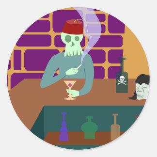 Barra de Martini del cráneo de Fes Pegatina Redonda