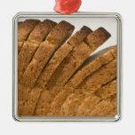 Barra de pan cortada adorno navideño cuadrado de metal