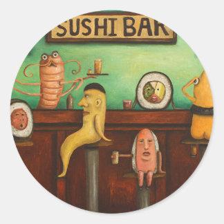 Barra de sushi pegatina redonda
