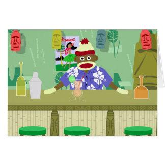 Barra de Tiki del mono del calcetín Tarjeta De Felicitación