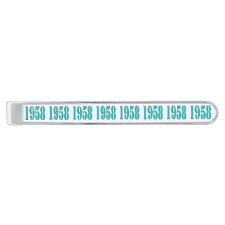 Barra de unión de 1958 personalizados alfiler de corbata plateado