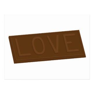 Barra del amor del chocolate postal