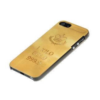 Barra del lingote de oro funda para iPhone 5 incipio feather shine