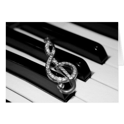 Barra del piano con el G-clef Tarjeta De Felicitación