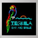 Barra del Tequila y señal de neón de la parrilla Impresiones