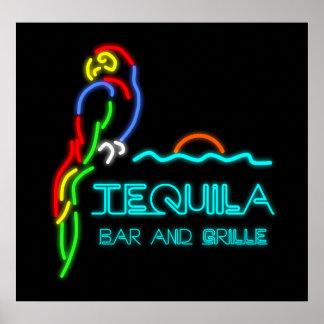 Barra del Tequila y señal de neón de la parrilla Póster