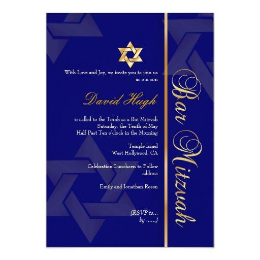 "Barra elegante Mitzvah/azul marino/oro Invitación 5"" X 7"""