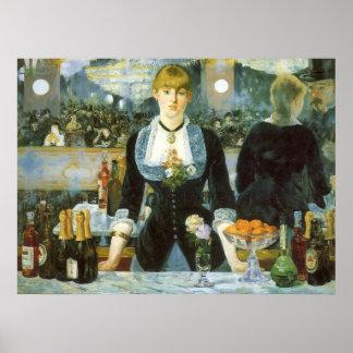 Barra en el Folies-Bergere Manet bella arte del Impresiones