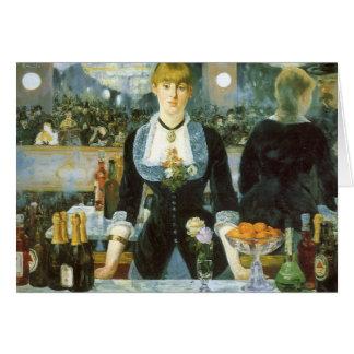 Barra en el Folies-Bergere, Manet, bella arte del Felicitaciones