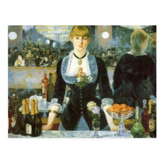 Barra en el Folies-Bergere, Manet, bella arte del Postal