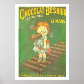 Barra grande del chocolate del niño francés del póster