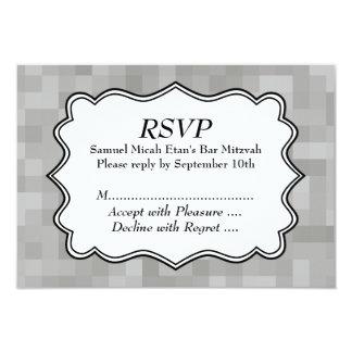 """Barra gris, blanco y negro modelada Mitzvah Invitación 3.5"""" X 5"""""""