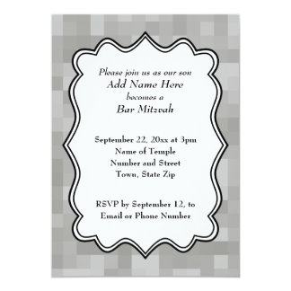 """Barra gris, blanco y negro modelada Mitzvah Invitación 5"""" X 7"""""""