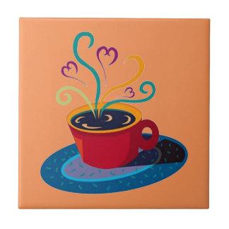 Barra Klatch del té del amor de la taza de café de Azulejo Cuadrado Pequeño