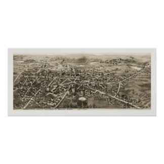 Barra, mapa panorámico del mA - 1870s Posters