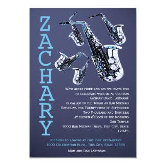 Barra Mitzvah de la música del saxofón Invitación 12,7 X 17,8 Cm
