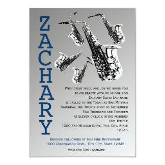 """Barra Mitzvah de la música del saxofón Invitación 5"""" X 7"""""""
