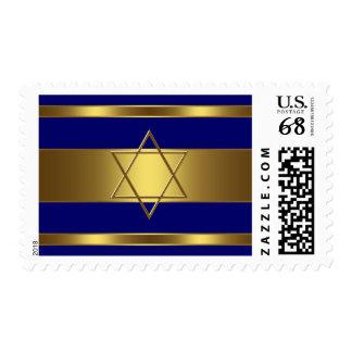Barra Mitzvah de los azules marinos y de oro Sello Postal