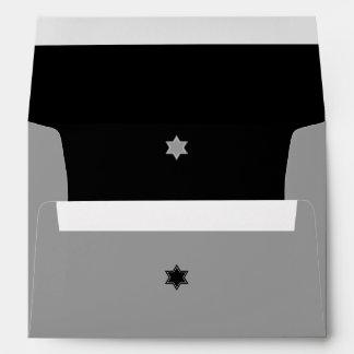 Barra negra y gris Mitzvah del bloque del color Sobres