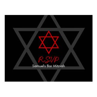 Barra negra y roja Mitzvah RSVP Postales