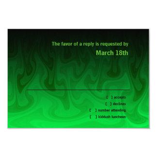 """Barra ondas negras y verdes RSVP de Mitzvah Invitación 3.5"""" X 5"""""""
