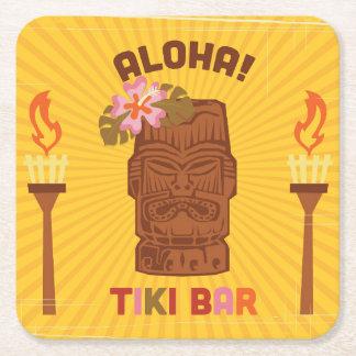 Barra retra de Tiki de la hawaiana del estilo Posavasos Desechable Cuadrado