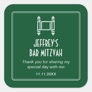 Barra simple Mitzvah de Forest Green Torah Pegatina Cuadrada