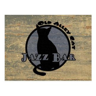 Barra vieja del jazz del gato callejero postales