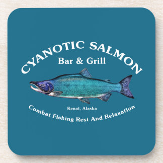Barra y parrilla de color salmón cianóticas posavasos de bebida