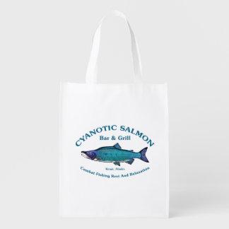Barra y parrilla de color salmón cianóticas bolsa de la compra