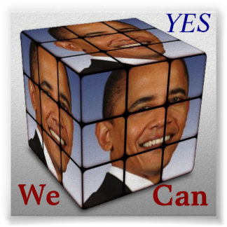 Barrack Obama Cube, YES We  Can Poster