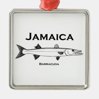 Barracuda de Jamaica Adorno Cuadrado Plateado