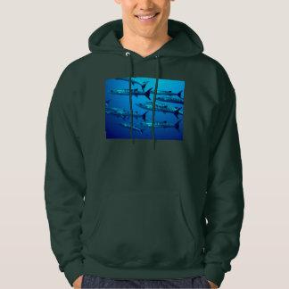 barracuda dive deep sea ocean water tropical wave hooded pullover