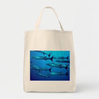 barracuda dive deep sea ocean water tropical wave tote bag