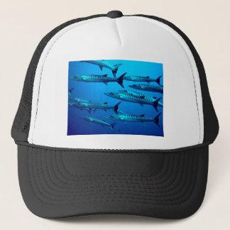 barracuda dive deep sea ocean water tropical wave trucker hat