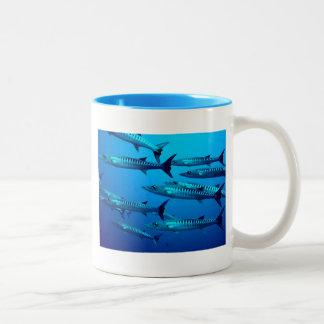barracuda dive deep sea ocean water tropical wave Two-Tone coffee mug