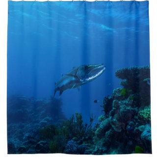 Barracuda Great Barrier Reef Coral Sea Bathroom Shower Curtain
