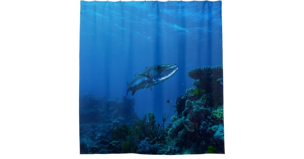 Barracuda great barrier reef coral sea bathroom shower for Coral reef bathroom decor