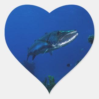 Barracuda Great Barrier Reef Coral Sea Heart Sticker